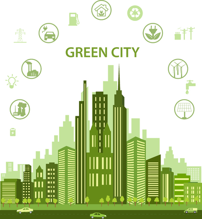 Illustration pour Green city concept with different icons and eco symbols. Modern city design with future technology for living. Green city infographic Environment, ecology infographic elements - image libre de droit