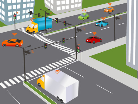 Communication that connects cars to devices on the road, such as traffic lights, sensors, or Internet gateways. Wireless network of vehicle. Smart Car, Traffic and wireless network, Intelligent Transport Systems