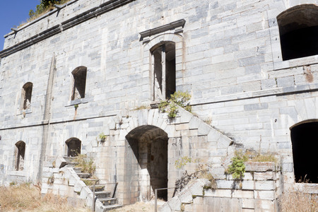 Entrance of front part of Coll de ladrones fort in Canfranc, Spain