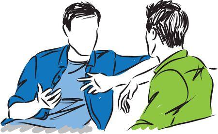 Illustration pour two men talking together vector illustration - image libre de droit