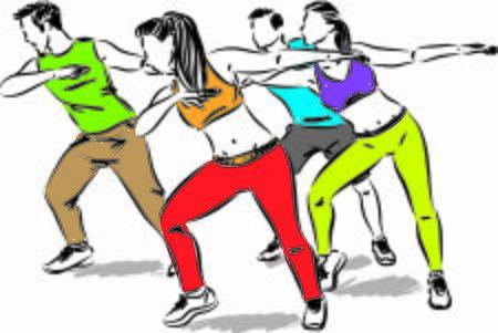 Ilustración de fitness group of people dancing vector illustration - Imagen libre de derechos