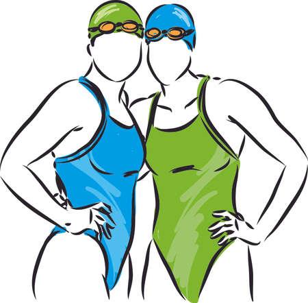 Ilustración de swimmer team concept 2 women vector illustration - Imagen libre de derechos