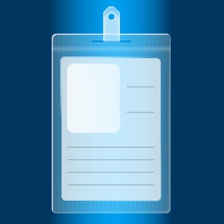 Illustration pour Illustration of empty blue plastic badge - image libre de droit