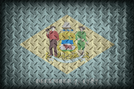 Delaware Flag Pattern On Diamond Metal Plate Texture
