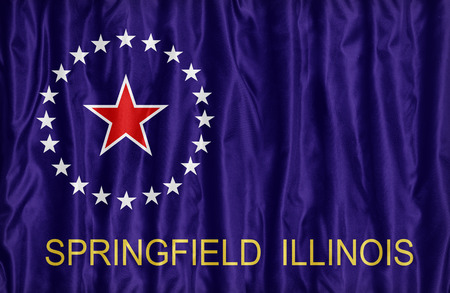 Springfield ,Illinois flag pattern on fabric texture,retro vintage style