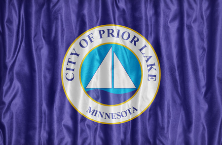 Prior Lake ,Minnesota flag pattern on fabric texture, vintage style