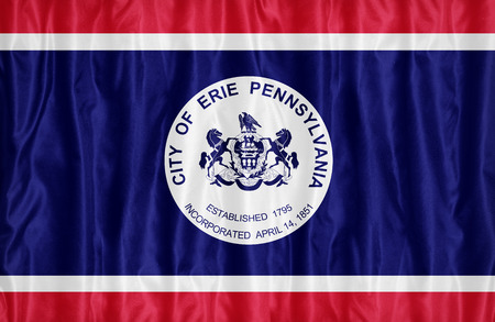 Erie ,Pennsylvania flag pattern on fabric texture,retro vintage style