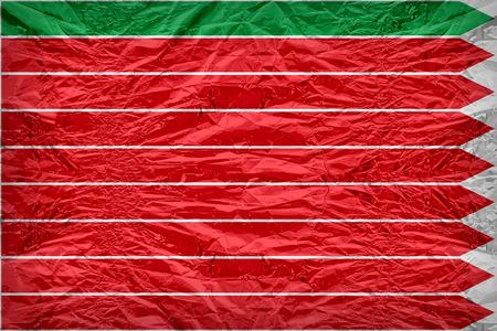 Zamora flag pattern overlay on floyd of candy shell, vintage border style
