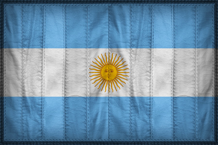 Argentina flag pattern on synthetic leather texture
