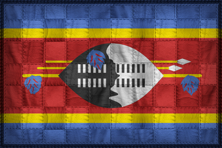 Swaziland flag pattern on synthetic leather texture