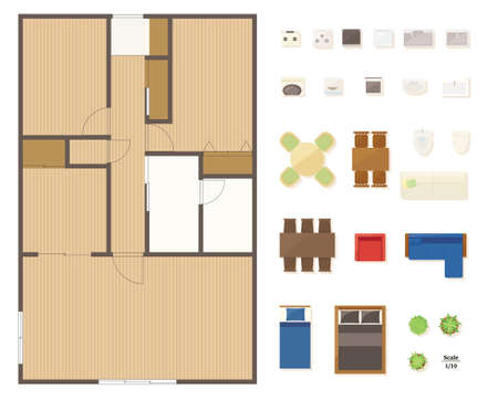Illustration for Floor plan layout set for condominiums and houses. - Royalty Free Image