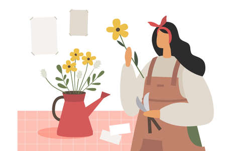 The girl makes a bouquet of wildflowers. Florist works in his shop. A young woman at the counter, draws up flower arrangements. Illustration in trendy flat style.