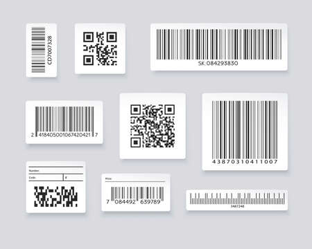Illustration pour QR codes and barcode labels. Supermarket scan code bars, industrial barcode labels. Barcode label for scan, bar code sticker, vector illustration - image libre de droit