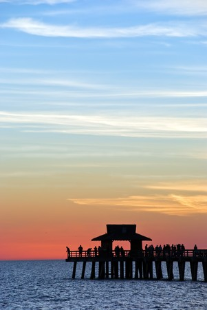 Sunset  on the pier in Naples,Florida
