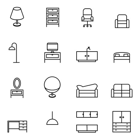 furniture icons set vector illustration For Mobile, Web And Applications