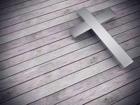 3d render of silver cross on wood background , left space for text