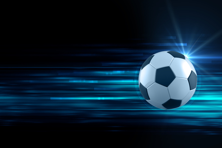 Foto de 3d illustration of soccer ball in blue light streak background  can be use in extreme sport title or print media - Imagen libre de derechos