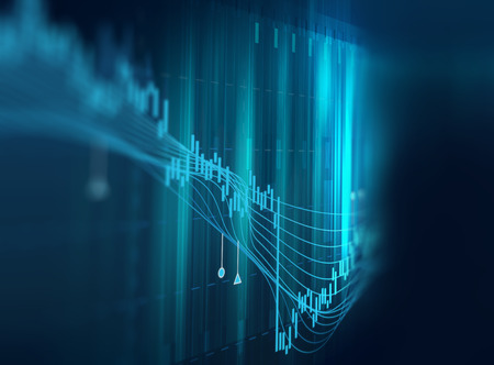 Photo for financial stock market graph on technology abstract background - Royalty Free Image