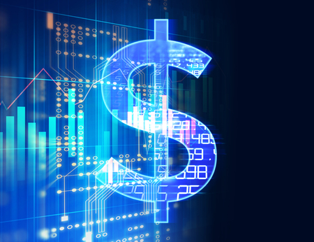 Photo pour dollar sign on abstract financial technology background represent Blockchain and  Fintech Investment Financial  Internet Technology Concept.  - image libre de droit