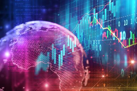 Foto de financial stock market graph on technology abstract background   - Imagen libre de derechos