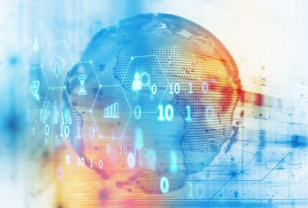 Photo pour fintech icon  on abstract financial technology background represent Blockchain and  Fintech Investment  Financial Internet Technology Concept. - image libre de droit