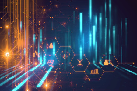 Photo for fintech icon  on abstract financial technology background represent Blockchain and  Fintech Investment  Financial Internet Technology Concept.   - Royalty Free Image