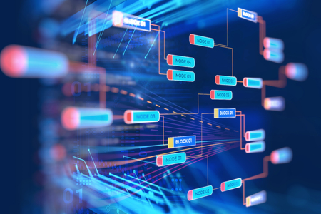 Photo pour Abstract  Futuristic infographic with Visual data complexity , represent Big data concept, node base programming - image libre de droit