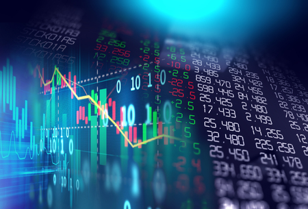 Photo pour financial stock market graph illustration ,concept of business investment and stock future trading.   - image libre de droit