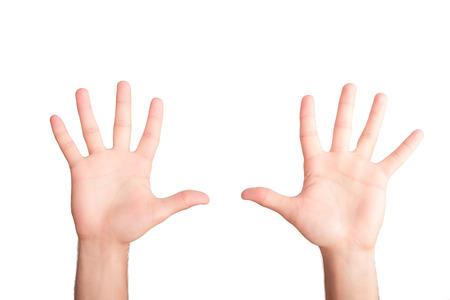 Photo pour Hands concept. Man hands isolated on white background - image libre de droit