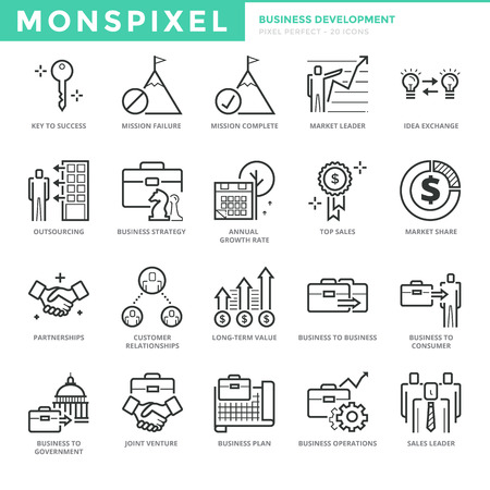 Flat thin line Icons set of Business Development. Pixel Perfect Icons. Simple mono linear pictogram pack stroke concept for web graphics.