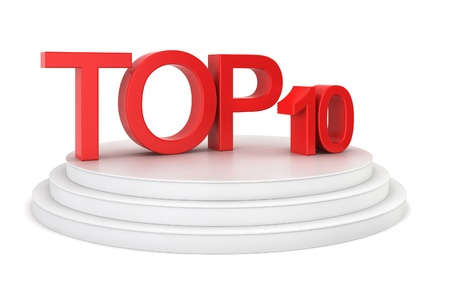 Top ten. 3d illustration on white background