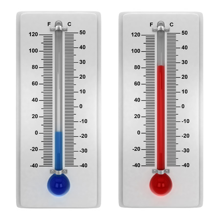 Photo for Weather thermometers. 3d illustration isolated on white background - Royalty Free Image