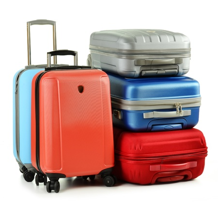 Photo pour Luggage consisting of suitcases isolated on white - image libre de droit