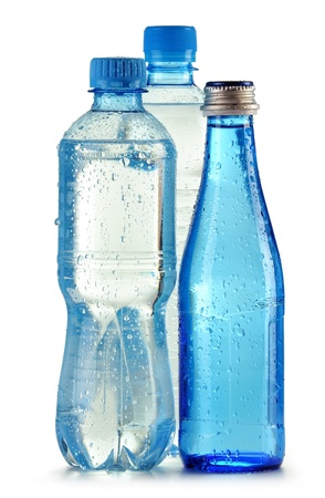 Bottles of mineral water isolated on white background