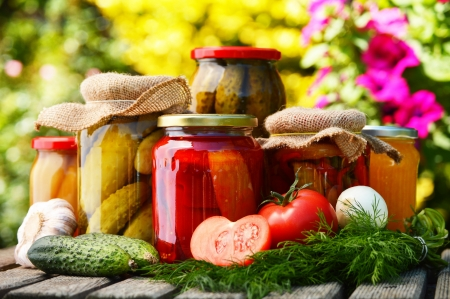 Foto de Jars of pickled vegetables in the garden. Marinated food - Imagen libre de derechos