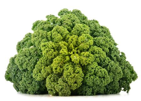 Fresh organic kale isolated on white background