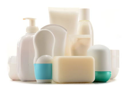 Composition with containers of body care and beauty products. Eco cosmetics.