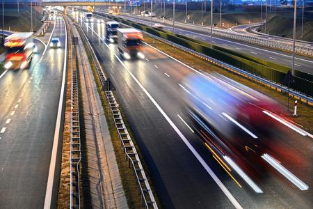 Photo pour Four lane controlled-access highway in Poland. - image libre de droit