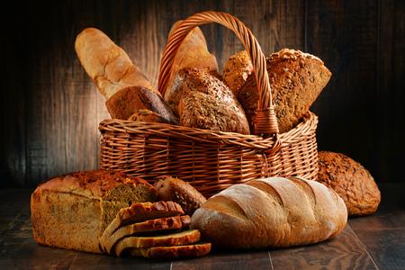 Foto für Composition with variety of baking products on wooden table - Lizenzfreies Bild