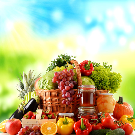 Composition with variety of organic food. Balanced diet
