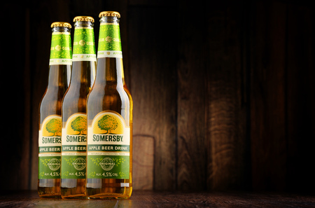 POZNAN, POLAND - JUNE 22, 2016: Somersby cider is a brand of 4.5% abv cider produced by Danish brewing company Carlsberg Group. It is being sold in more than 46 countries.