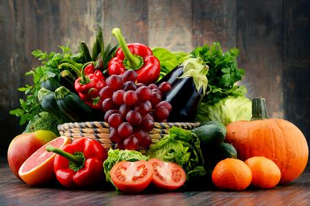 Foto für Composition with variety of fresh vegetables and fruits. Detox diet. - Lizenzfreies Bild