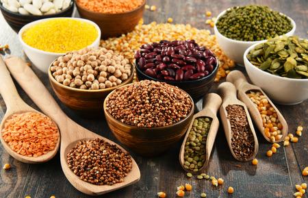 Foto de Composition with variety of vegetarian food ingredients. - Imagen libre de derechos