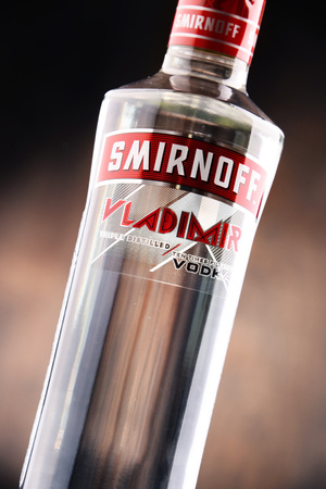 POZNAN, POLAND - MAY 31, 2017: Smirnoff is a brand of vodka owned and produced by the British company Diageo. Founded in Moscow by Pyotr Arsenievich Smirnov it is now distributed in 130 countries