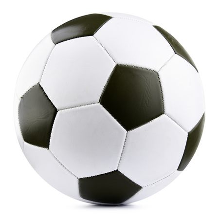 Foto de Leather soccer ball isolated on white background. - Imagen libre de derechos