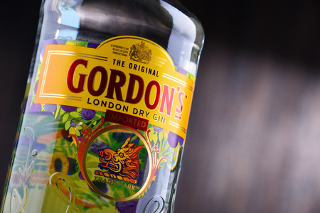 POZNAN, POL - MAY 3, 2018: Gordon's is a brand of the world's best selling London Dry gin. It is owned by the British spirits company Diageo.