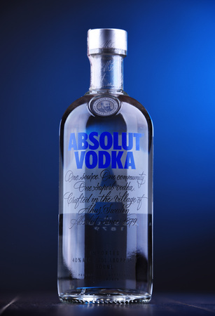 POZNAN, POL - NOV 29, 2018: Bottle of Absolut Vodka, a brand of vodka produced in Sweden. Owned by French group Pernod Ricard it is one of the largest brand of alcoholic spirits in the world
