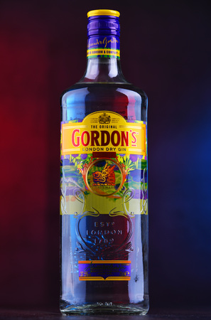 POZNAN, POL - DEC 12, 2018: Bottle of Gordon's London Dry, a brand of the world's best selling London Dry gin. It is owned by the British spirits company Diageo.