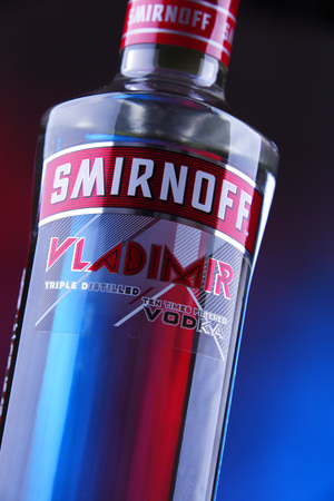POZNAN, POLAND - DEC 20, 2018: Bottle of Smirnoff, a brand of vodka produced by the British company Diageo. Founded in Moscow by Pyotr Arsenievich Smirnov it is now distributed in 130 countries