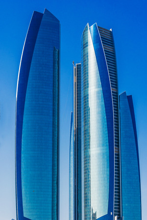 ABU DHABI, UNITED ARAB EMIRATES - FEB 10, 2019: Etihad Towers in Abu Dhabi, United Arab Emirates
